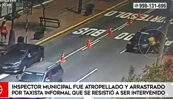 Conductor atropella a inspector cuando era intervenido | FOTO: captura América Noticias