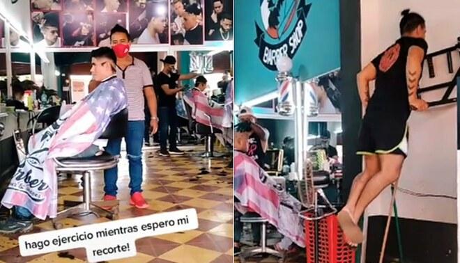 Barbería coloca barra para ejercitarse y es viral en TikTok | FOTO: captura Potro Cabrera (TikTok)