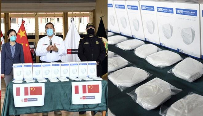 El titular del Mininter agradeció el gesto de China al donar estos materiales de bioseguridad en la lucha contra el coronavirus.