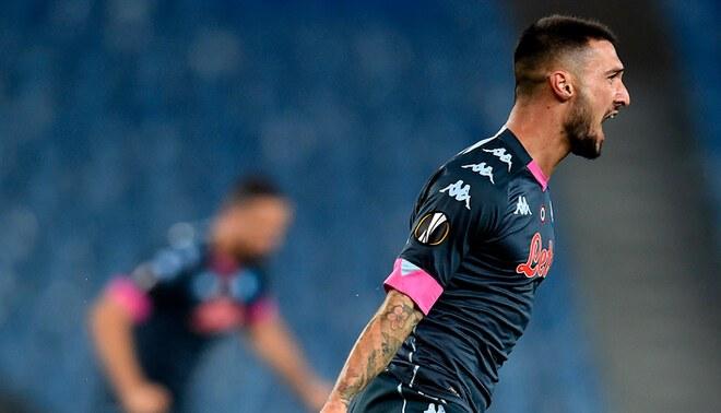 Matteo Politano celebra el 1-0 en el Napoli vs Real Sociedad (Europa League).