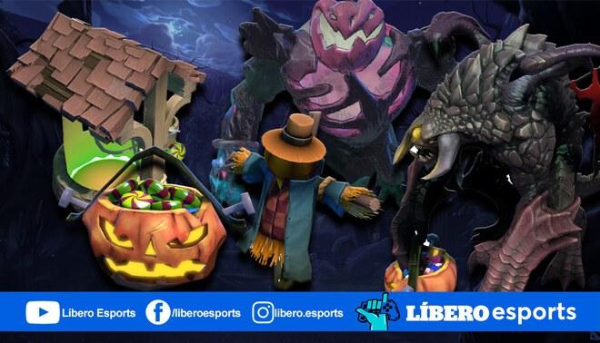 Calabazas, caramelos y Roshan son protagonistas en Diretide 2020 el evento de Halloween de Dota 2. | Foto: Composición
