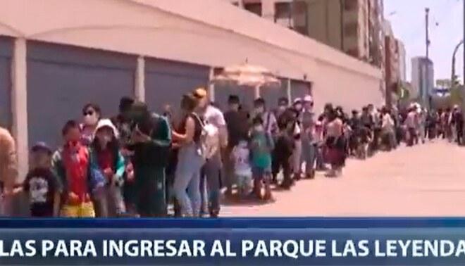 Cientos de familias hacen largas colas para ingresar al Parque de las Leyendas — Foto: captura Canal N
