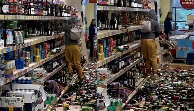 Viral: mujer enloquece y rompe más de 500 botellas de bebidas alcohólicas - Video