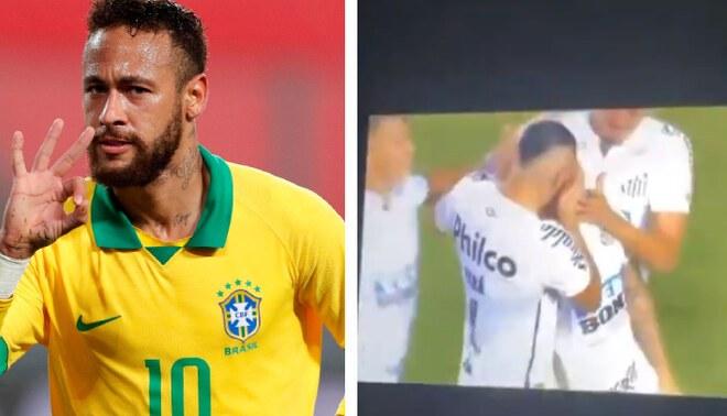 Neymar celebró los goles de Santos en la semifinal de la Copa Libertadores, FOTO: EFE