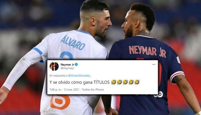 Neymar volvió a pelear con Álvaro González, esta vez en redes sociales. Foto: Composición