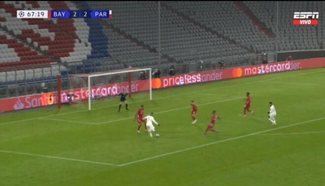 Kylian Mabppé consigue su doblete frente al Bayern Múnich. Foto: captura/ESPN