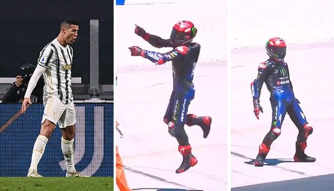 El peculiar festejo de Cristiano Ronaldo fue imitado en el MotoGP de Portugal. Foto: AFP/MotoGP