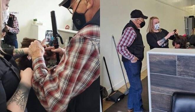 Canadá: Adulto mayor pide que le enseñen a rizar el cabello porque su esposa ya no puede. Foto: Líbero.
