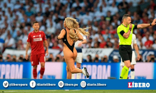 Youtube: Liverpool vs Tottenham EN VIVO | Mujer en bikini ingresó al recinto del Wanda Metropolitano en la Final Champions League 2019 (EFE)
