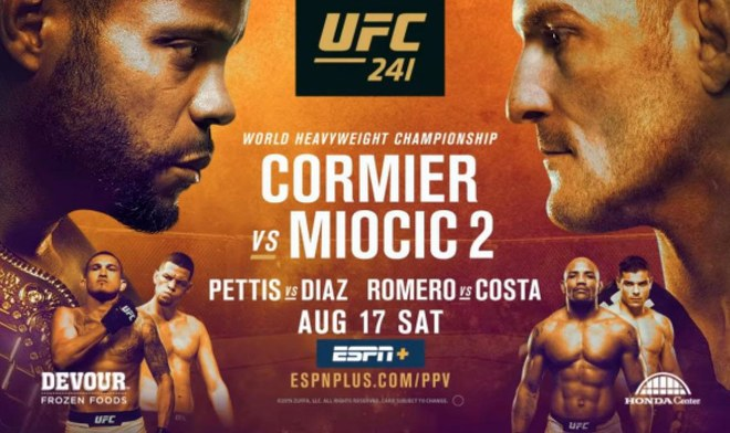 UFC ONLINE Daniel Cormier vs Stipe Miocic FOX Action EN VIVO Cartelera Nate Diaz FOX Sports MMA Free Fight Watch UFC 241 Link Stream Pelea GRATIS Hora Canal TV Main card VIDEO