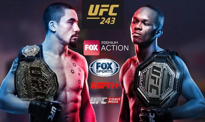 HOY UFC EN VIVO Whittaker vs Adesanya ONLINE FOX Action UFC 243 GRATIS FOX Sports Fight Card Reddit Hoy Hora México Argentina Canal TV Cartelera Link Stream Resultados YouTube VIDEO