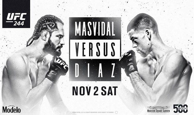 UFC 244   Nate Diaz vs Jorge Masvidal EN VIVO ONLINE FOX Action ESPN FOX Sports Día Fecha Cartelera Canal TV Horario Título BMF Fight Card Nueva York