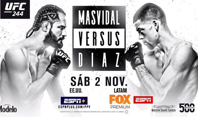 HOY UFC 244   Nate Diaz vs Jorge Masvidal EN VIVO UFC Fight Night ONLINE FOX Action ESPN FOX Sports Reddit Streaming Día Fecha Cartelera Canal TV Horario Título BMF Fight Card Nueva York