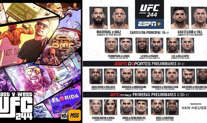 FOX Action EN VIVO UFC Nate Diaz vs Masvidal ONLINE FOX Sports UFC 244 Fight Card Ver Peleas UFC HOY GRATIS UFC Fight Pass ESPN DAZN España UFC Fight Night Canal Hora Cartelera VIDEO