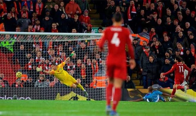 Gol de Mohamed Salah. Crédito: Liverpool