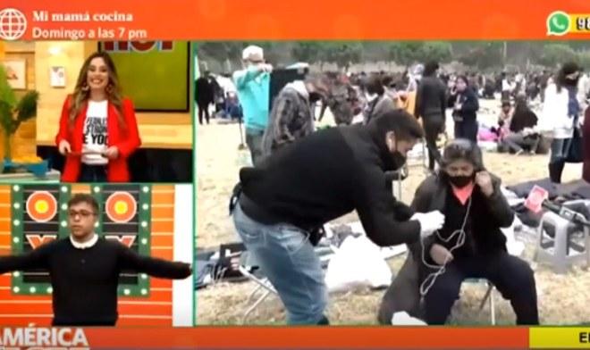 Facebook Viral vendedora trolea a reportero America TV Martin Arredondo en vivo VIDEO
