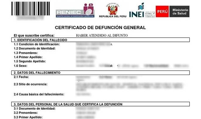 Certificado de Defunción por Reniec