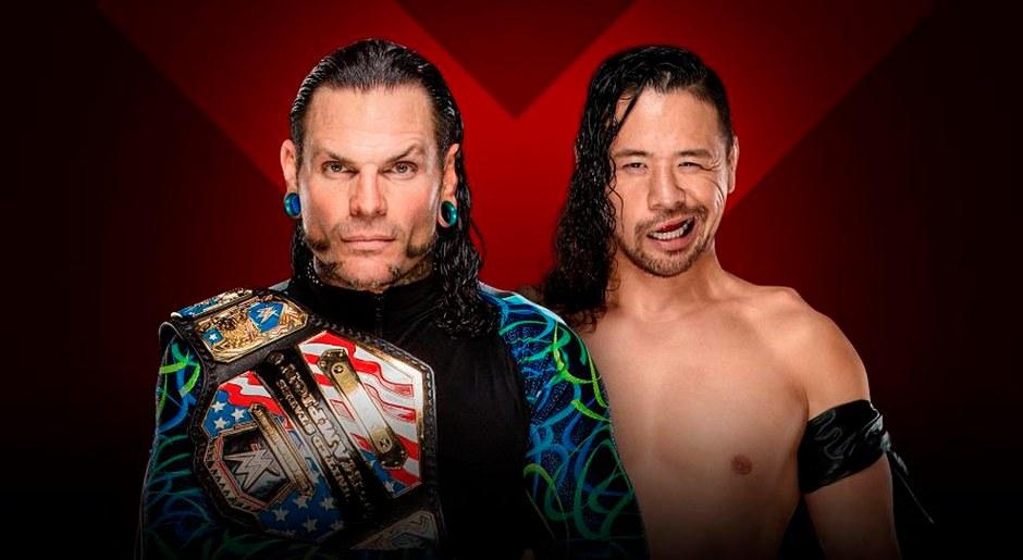 En WWE Extreme Rules 2018,  Jeff Hardy vs Shinsuke Nakamura por el Campeonato de Estados Unidos. Foto: WWE
